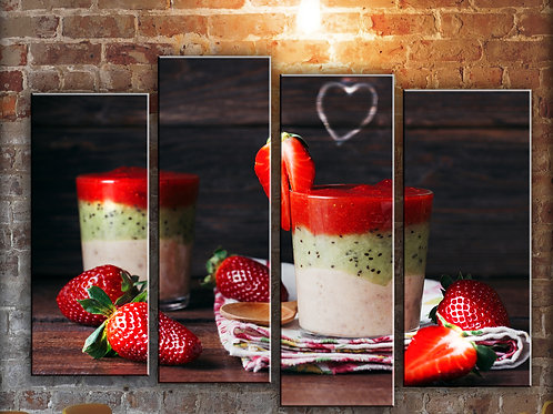 Big Kitchen Strawberry Smoozie Wall Art Decor Picture Painting Print 32 by 44 in