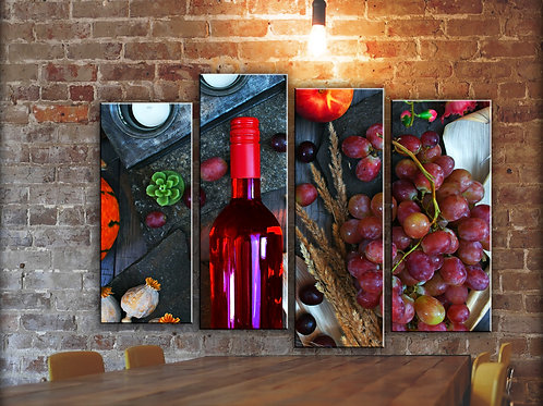 Big Red Wine Kitchen Wall Art Decor Picture Painting Print 32 by 44 in