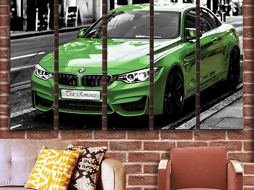 Large Sports Car Green BMW M4 Wall Art Decor Picture Painting Print 35 by 55 in