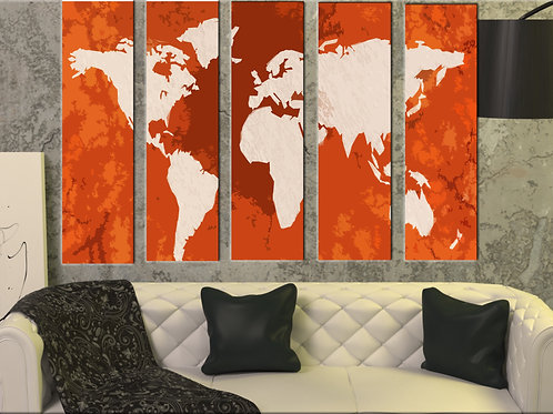 Big Push Pin World Map Wall Art Decor Picture Painting Print 35 by 55 in