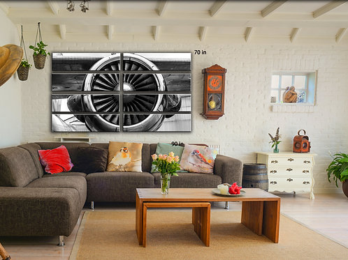 Huge Giant Airplane Engine Wall Art Decor Picture Painting Print 70 by 90 in