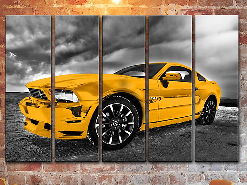 Yellow Ford Mustang Wall Art Decor Picture Painting Print 35 by 55 in