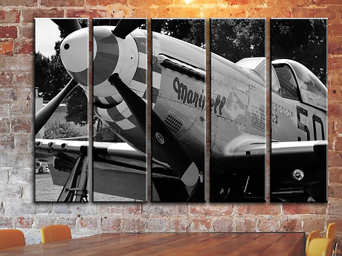 P-51 Mustang Military Aircraft Wall Art Decor Picture Painting Print 35 by 55 in
