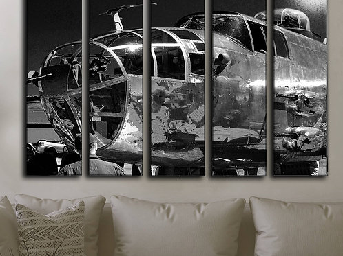 Big Set Airplane Canvas Picture / Military Aircraft Bomber B-25 Mitchell / Aircraft Canvas Wall Art / Vintage WW2 Plane Arts