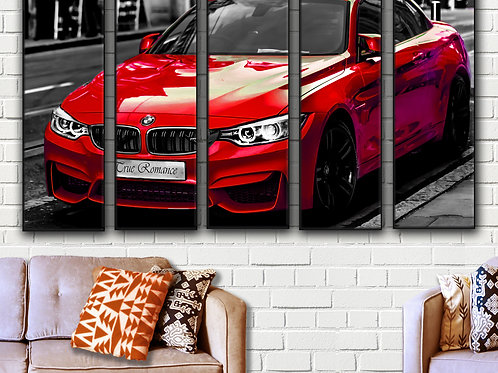 Large Sports Car Red BMW M4 Wall Art Decor Picture Painting Print 35 by 55 in