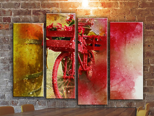 Bicycle Red Flowers Wall Art Decor Picture Painting Print 32x44