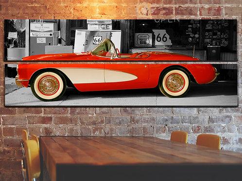 Vintage Car Wall Art Decor Picture Painting Print Gold Chevrolet Corvette Art