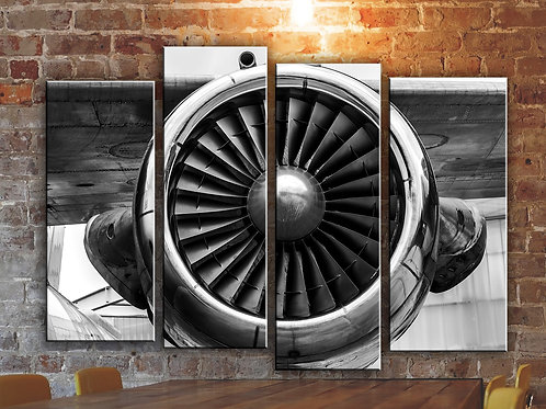 Large Airplane Engine Wall Art Decor Picture Painting Print 32 by 44 in