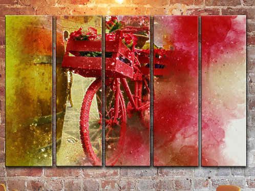 Bicycle Red Flowers Wall Art Decor Picture Painting Print 35x55