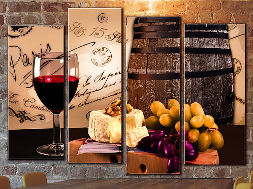Wine Barrel Wall Art Decor Picture Painting Print 32 by 44 in