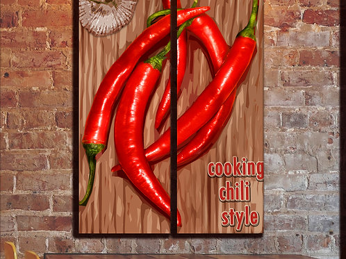 Kitchen Red Chili Pepper Wall Art Decor Picture Painting Print 22 by 35