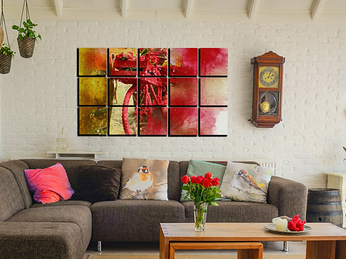 Bicycle Red Flowers Wall Art Decor Picture Painting Print 30x50