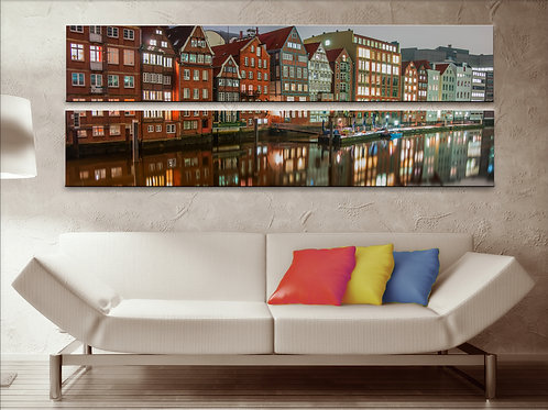 Cityscape Wall Art Hamburg Picture Print on Canvas Peices 22x67 Inches