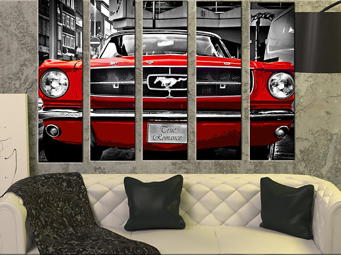 Big Red Ford Mustang 1964 Wall Art Decor Picture Painting Print 35 by 55 in