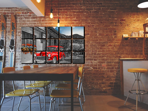 Red Vintage Car Wall Art Decor Picture Painting Print Vintage Car Art