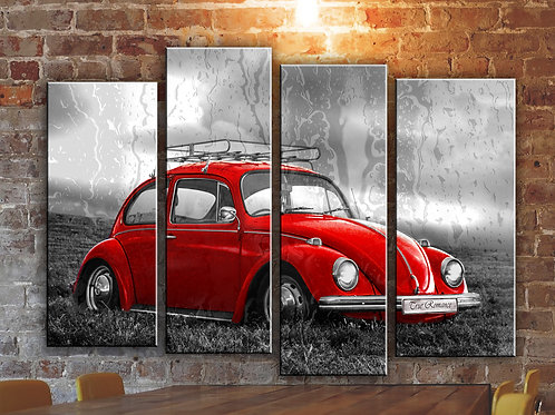 Volkswagen VW Beetle Wall Art Decor Picture Painting Print Vintage Car Art