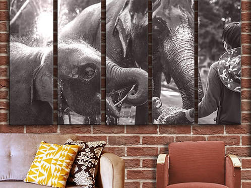 Elephants Vintage Photo Wall Art Decor Picture Painting Print Travel Art
