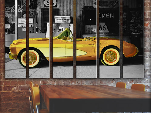 Vintage Car Wall Art Decor Picture Painting Print Gold Chevrolet Corvette Art