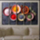 kitchen wall canvas art with spices and red pepper on plates, 5 pieces panels, ready to hang