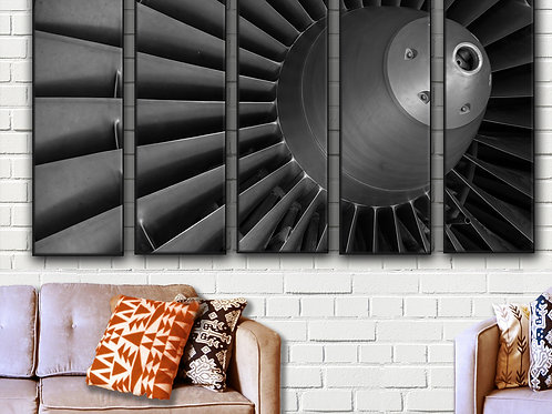 Airplane Engine Turbine Wall Art Decor Picture Painting Print 35 by 55 in