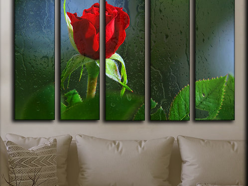 Big Red Rose And Rain Drops Wall Art Decor Picture Painting Print 35 by 55