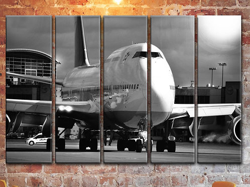 Jumbo Jet Boeing-747 Wall Art Decor Picture Painting Print on Canvas 35 by 55 in