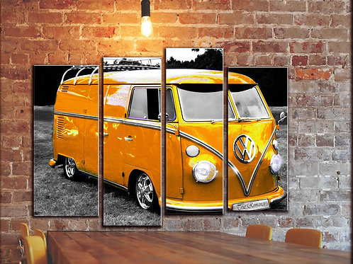 Vintage VW Bus Wall Art Decor Picture Painting Print 32 by 44 in
