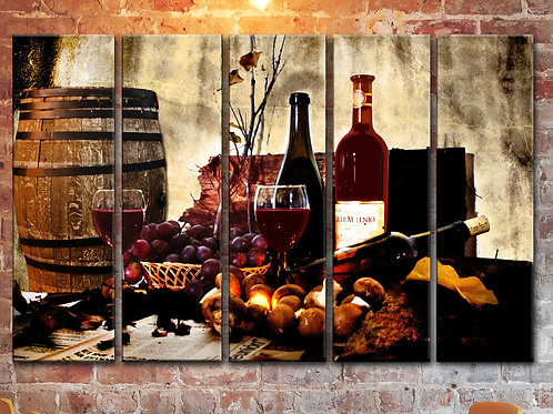 Wine Glass Barrel Wall Art Decor Picture Painting Print 35 by 55 in