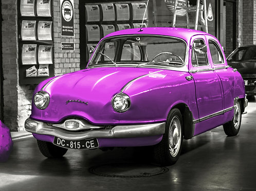 Printable File Pink Panhard Vintage Car Poster Instant File Download