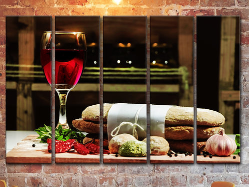 Wine Spices And Bakery Wall Art Decor Picture Painting Print 35 by 55 in