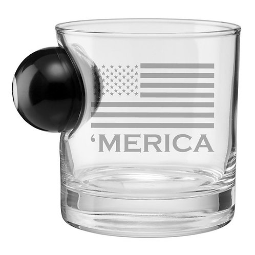 BenShot 'Merica Rocks Glass with 8 Ball