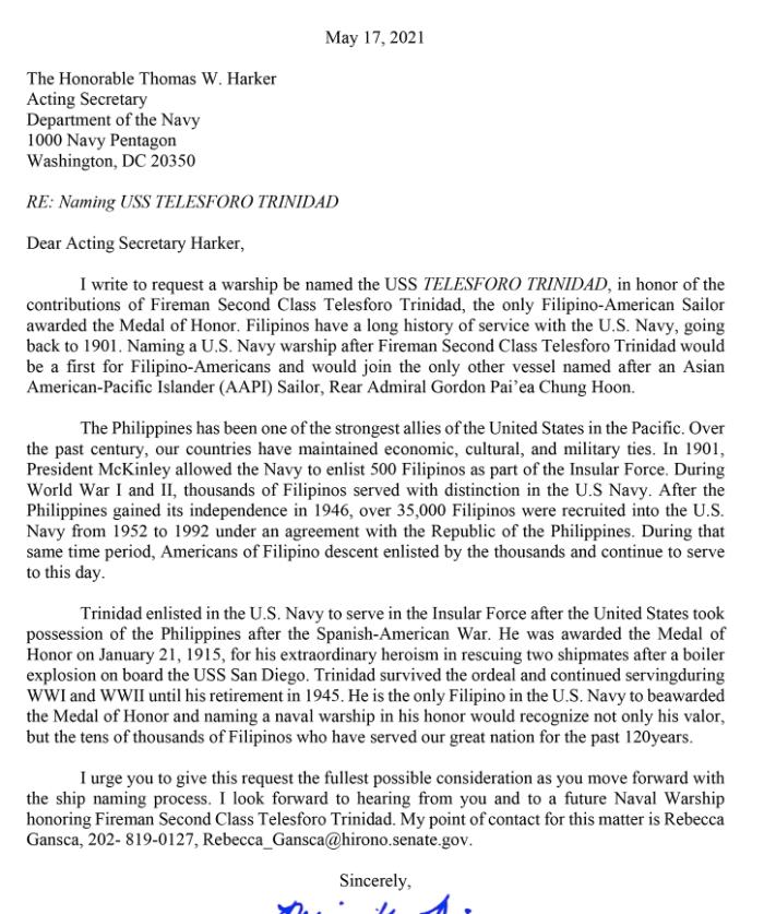 Senator Hirono Letter