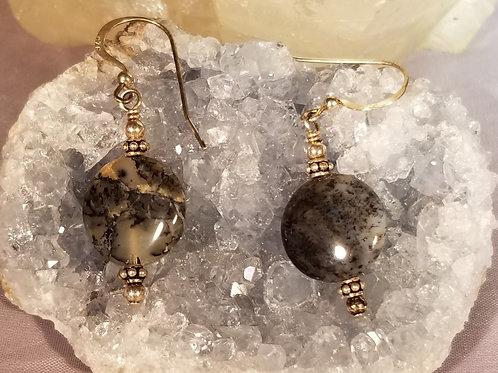 Earrings:  Dendrite Agate in sterling silver