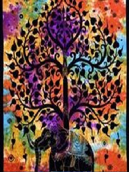 Elephant under Tree Twin Tapestry