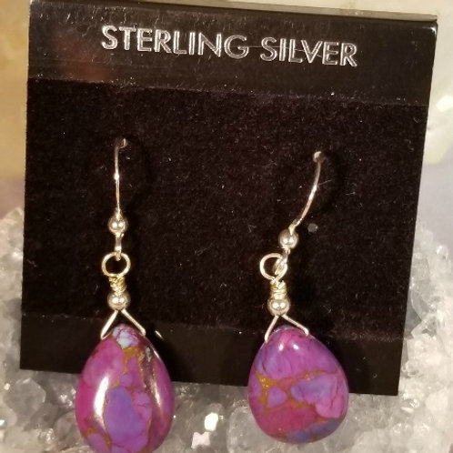 Earrings:  Purple Turquoise in sterling silver