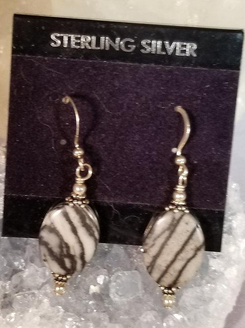 Earrings:  Zebra Jasper in sterling silver
