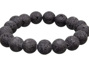 Bracelet: Lava Stone 12mm beads elastic