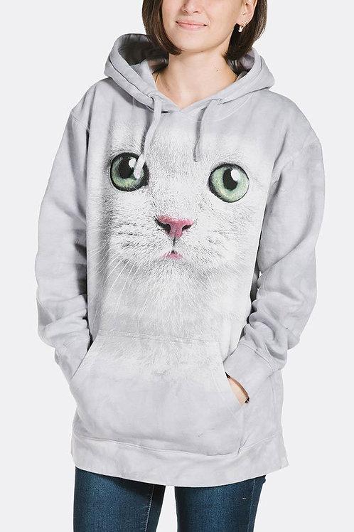 Cat-Green Eyes Face Hoodie-Adult