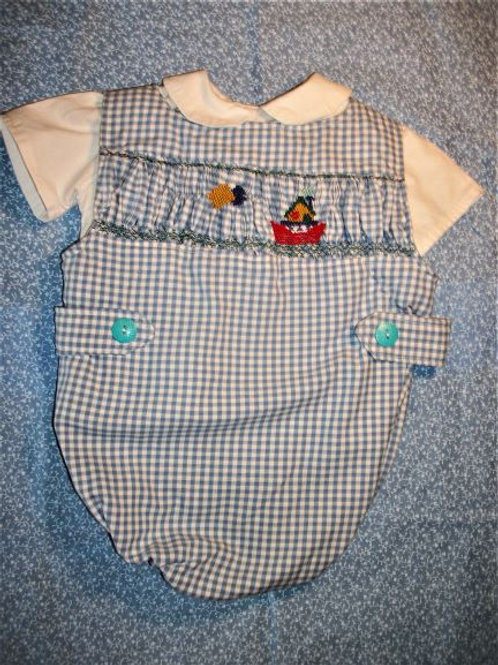 Smocked Tugboat Boys Button Suit and Shirt, 6 months