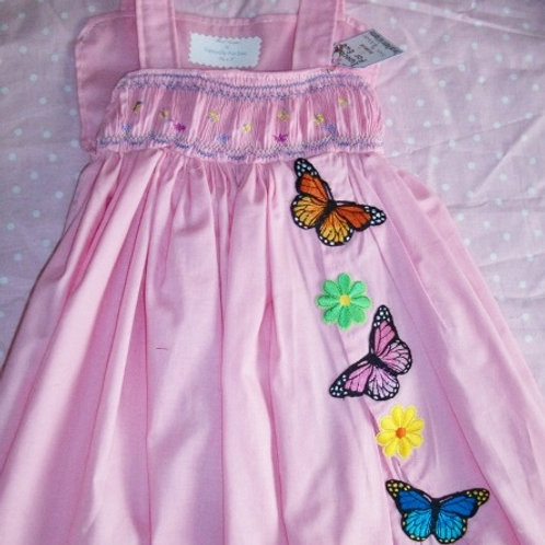 Butterfly Sun  Dress with Appliques and English Smocking