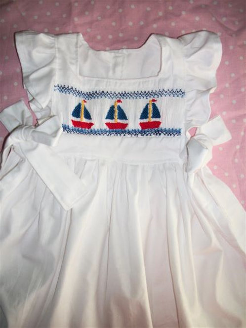 Girls Pinafore with Three Boats, 12 months