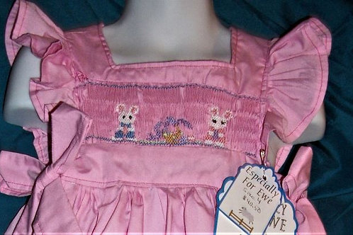 Girls Pink Pinafore with Bunnies, size 4