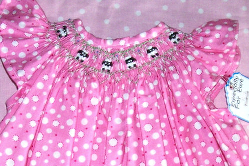 Pink Dress with French Knot Sheep Dot, 3 months