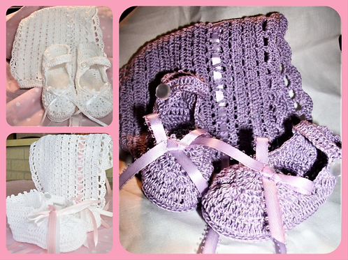 Hand Crochet Baby Hat and Booties -3-6 months