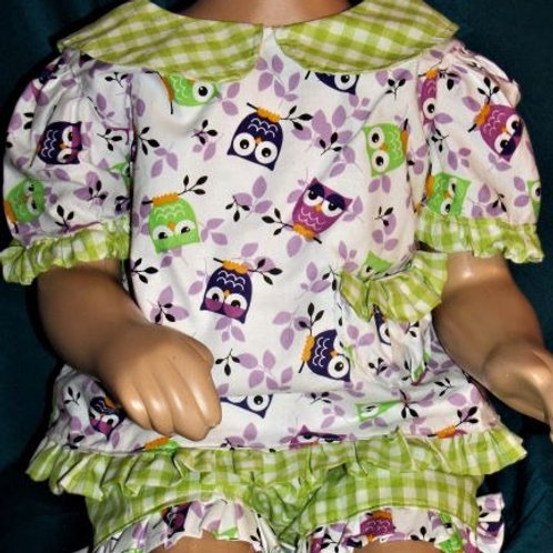 Girls Top and Capri's on Owl Fabric, size 2