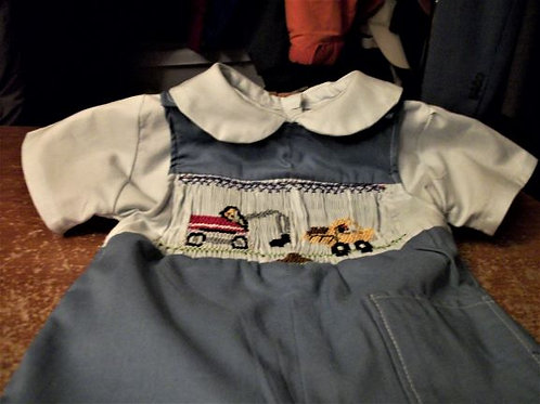 Boys Short Button Suit with dump truck and shirt -  9 months or 12 months