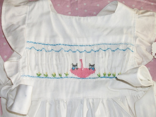 Girls Pinafore with Two Kittens In An Umbrella, size 4