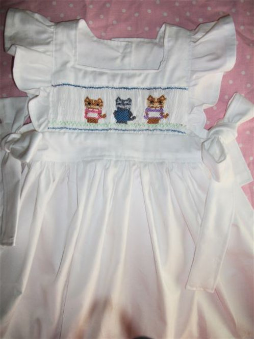 English Smocked Pinafore With Smocked Kittens, 12 months
