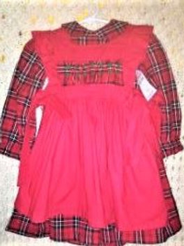 Red Plaid Dress and Pinafore, Size12 months