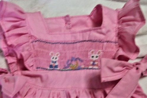 Pink Pinafore featuring Bunnies and a Basket, size 4